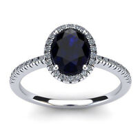 14K WHITE GOLD 1 3/4 CT OVAL GENUINE SAPPHIRE AND HALO DIAMOND RING, SIZE-7