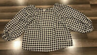 A New Day Gingham Balloon Sleeve Black White Blouse Womens Size XS NWOT
