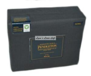 PENDLETON Iron Black KING SHEET SET Organic Cotton New