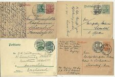 * 1905/19  4 x GERMANY UP-RATED POSTAL STATIONERY CARDS ALL DIFF COMBINATIONS