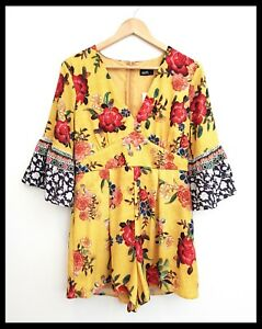 BNWT DOTTI Women's Mustard Yellow Floral Playsuit Romper Bell Sleeves Size 14