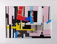 tableau, original, decoration, abstrait, noir, rouge, jaune