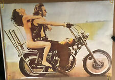 Original Vintage Poster Powerful Pierre Motorcycle Pin Up 1970's Sexy Woman