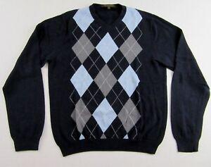 Sebastian Cooper Cotton Cashmere V Neck LS Argyle Sweater Size M