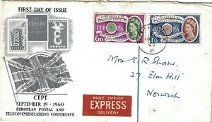 CEPT European Postal and Telecommunications Conference 1960 FDC First Day Cover.