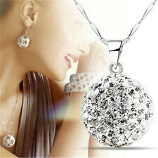 Luxury Womens Silver Full Crystal Rhinestone Ball Chain Necklace Pendant Jewelry