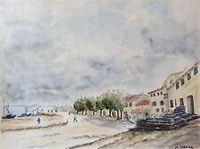 Grande aquarelle Avignon Quai du Rhône 1886 Provence signée M Cobourg
