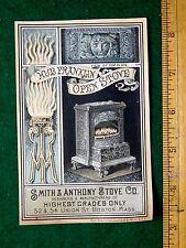 1870s-80s Lovely Art Nouveau Hub Franklin Open Stove, Smith & Anthony Card F22