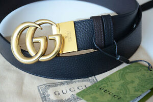 Authentic GUCCI Black Brown GOLD GG Buckle Reversible Belt size 105 fits 36-38