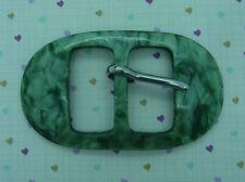 Vintage Green Plastic Belt Buckle~Marbled Look~1960s