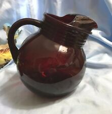 Anchor Hocking Royal Ruby Depression Glass Juice Tilt Ball Pitcher