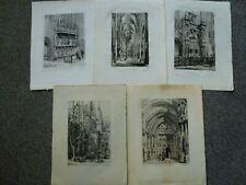 Henri Toussaint original etching print 1879 1882 1883 Rouen Paris x 5 Antique
