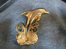 Large Dolphin Shell Sea Wave Brooch Pin Signed Jj Jonette Jewelry Gold Tone