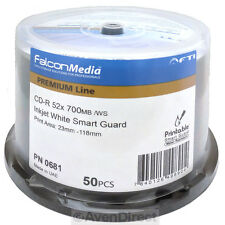 50 FalconMedia 52x Smart Guard White Inkjet Printable CD-R Water Resist Glossy