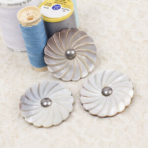 Vintage Set of 3 40mm Carved Mother of Pearl MOP Pinwheel Flower Buttons