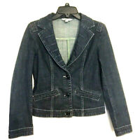 CAbi Jeans Womens Denim Dark Wash Long Lapels Button Up Jacket Size Small