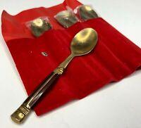 Set of 4 Vintage Bronze Demitasse Spoon with Teak Wood Handle Thailand Souvenir