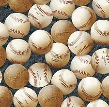 BE25 Baseballs Vintage Style Summer Sports Play Ball Cotton Quilt Fabric