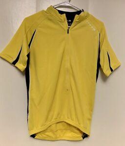 Endura Men's S Small Yellow Black White 3/4 zip CYCLING JERSEY Back pockets