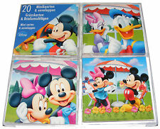 20 x Small Disney Mickey Mouse, Minnie Mouse & Donald Duck Cards & Envelopes New