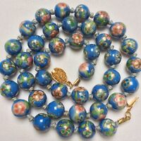 Vintage Chinese Export Blue Floral Enamel Cloisonné Glass Bead Knotted Necklace