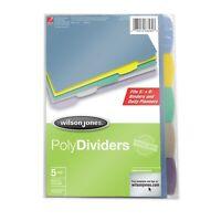 Wilson Jones 5-Tab Mini Dividers, 5.5 x 8.5 Inches, Assorted Colors (W21510)