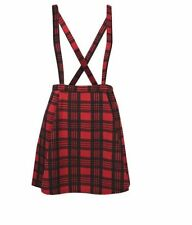 RED TARTAN SKIRT WITH DETACHABLE BRACE'S SIZES 8-20 BLACK OR RED