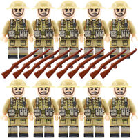WW2 Army Military British Soldiers + Weapons Mini Figures UK Toy Fits with lego