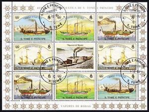 Navires Cuiseur Vapeur Bateaux à Grande Feuilles Miniature St. Tome Mi No. 916 -