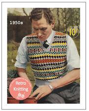 Man's 50's Fair Isle Pullover Vintage Knitting Pattern Copy