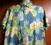Tori Richard 2XL/L Men's Short Sleeve 100% Cotton Blue Floral Hawaiian Shirt