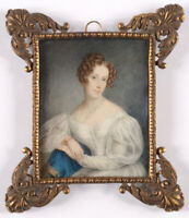 """""""Lady in white"""", large English miniature, ca. 1830"""