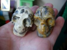 Crystal skull pair of yellow crazy lace agate