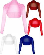 Ladies Long Sleeve Mesh Net Sheer Chiffon Cropped Bolero  Shrug UK Size 8-26