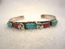 Effie Calavaza Zuni Snake Cuff Bracelet Turquoise Sterling Silver Coral