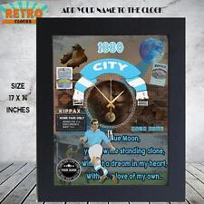 Personalised  Retro  MANCHESTER  CITY  football  supporters  Metal WALL CLOCK