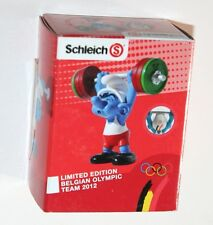 Schleich - Weightlifter Smurf BELGIAN OLYMPIC TEAM 2012 *New* Boxed (Promo)