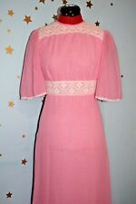 Vintage 60s 70s pink cotton and lace maxi dress