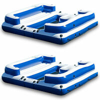 Intex Oasis Island Inflatable Giant 5 Person Lake Floating  Lounge Raft (2 Pack)