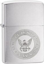 Zippo United States Navy Seal Stamp Logo Brushed Chrome Lighter NEW 29385