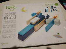 Tegu 24 Piece Magnetic Wooden Block Set in Blues