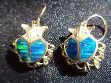 BEAUTIFUL 14k opal clam shell drop EARRINGS yellow gold seashells