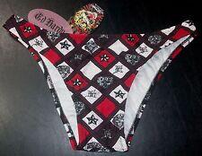 125b NWT L Red Black White Diamond ED HARDY Swimsuit Bikini Bottom!