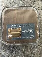 SureFit Stretch 2 Pieces T-Cushion Loveseat Taupe