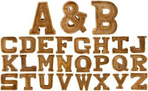 Hand Carved Wooden Embossed Letters 20cm High Plaque Sign