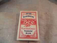 Vintage Bee Club Special No 92 Playing Cards Narrow Size