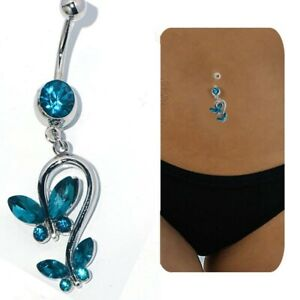 Long Blue butterfly belly ring Dangle Drop Button navel piercing jewelry Womens