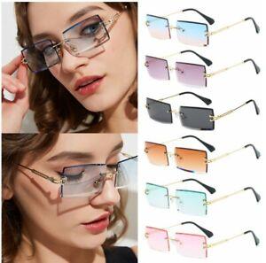 Rimless Fashion Sunglasses Rectangle Sun Glasses Summer Trendy Eyewear UV400 uk