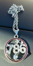 Silver Plated Islamic Muslim 786 Islam Pendant Car Rear Mirror Hanging in Red