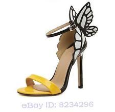 Damen Hochhackige Sandalen Fantasie bunten Schmetterling Schuhe Sommer Open Toe